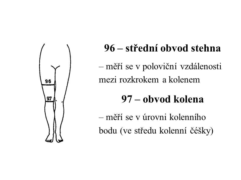 96 – střední obvod stehna – měří se v poloviční vzdálenosti mezi rozkrokem a kolenem 97 – obvod kolena – měří se v úrovni kolenního bodu (ve středu kolenní čéšky)