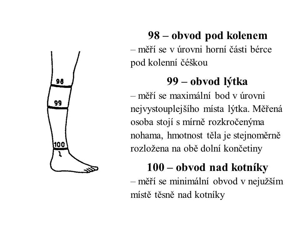 98 – obvod pod kolenem – měří se v úrovni horní části bérce pod kolenní čéškou 99 – obvod lýtka – měří se maximální bod v úrovni nejvystouplejšího místa lýtka.