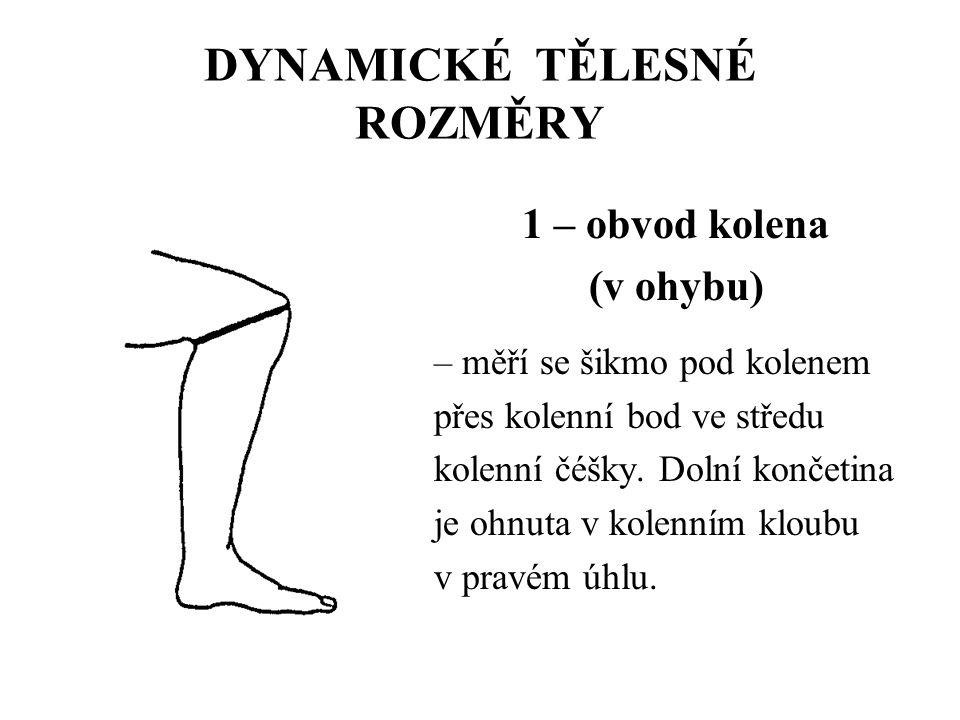 DYNAMICKÉ TĚLESNÉ ROZMĚRY 1 – obvod kolena (v ohybu) – měří se šikmo pod kolenem přes kolenní bod ve středu kolenní čéšky. Dolní končetina je ohnuta v