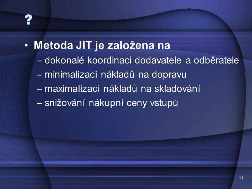11 ? •Metoda JIT je založena na –dokonalé koordinaci dodavatele a odběratele –minimalizaci nákladů na dopravu –maximalizaci nákladů na skladování –sni