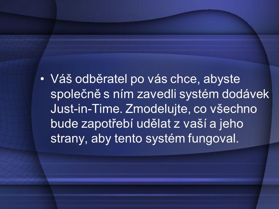 •Váš odběratel po vás chce, abyste společně s ním zavedli systém dodávek Just-in-Time. Zmodelujte, co všechno bude zapotřebí udělat z vaší a jeho stra