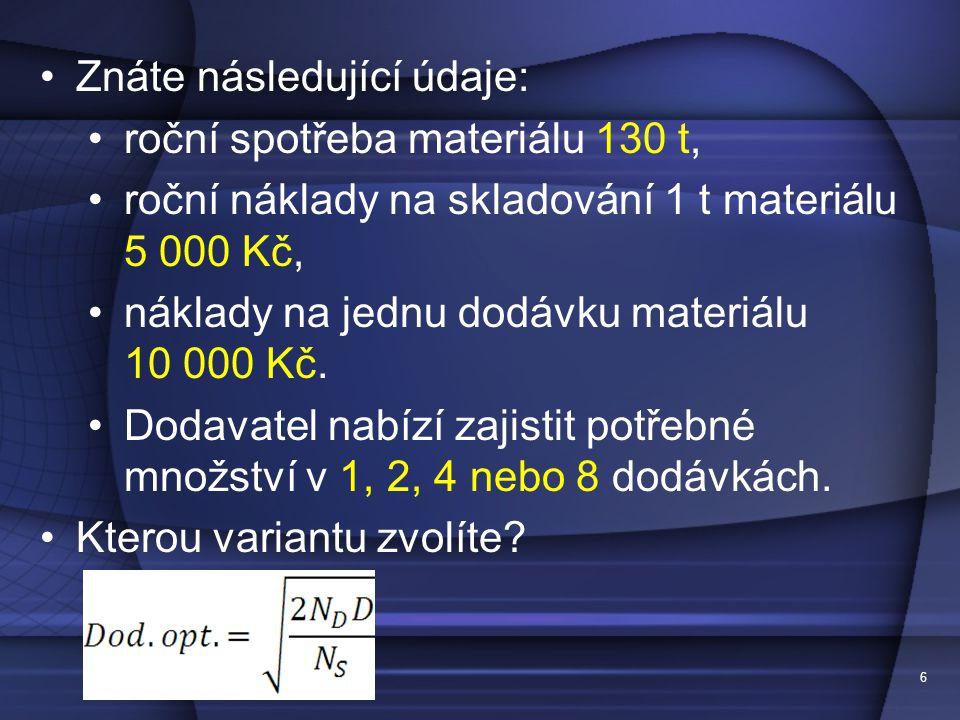 6 •Znáte následující údaje: •roční spotřeba materiálu 130 t, •roční náklady na skladování 1 t materiálu 5 000 Kč, •náklady na jednu dodávku materiálu 10 000 Kč.