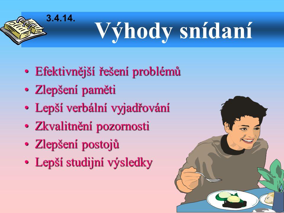 Výhody snídaní •Efektivnější řešení problémů •Zlepšení paměti •Lepší verbální vyjadřování •Zkvalitnění pozornosti •Zlepšení postojů •Lepší studijní vý