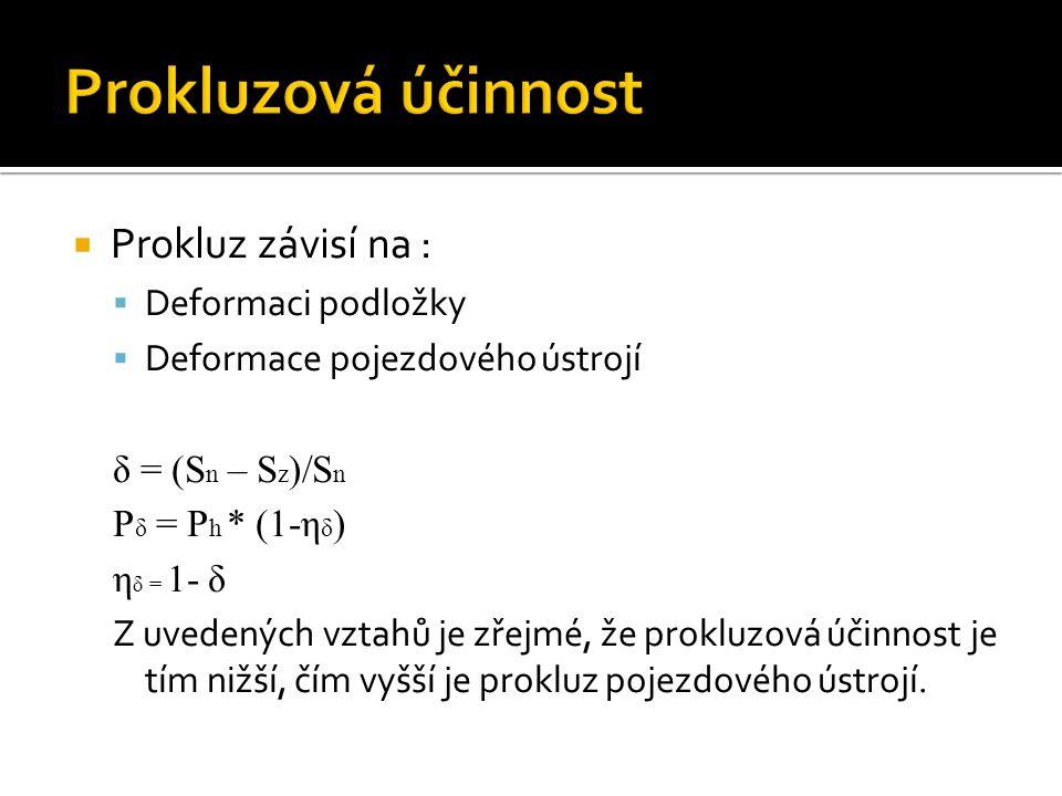  Prokluz závisí na :  Deformaci podložky  Deformace pojezdového ústrojí δ = (S n – S z )/S n P δ = P h * (1-η δ ) η δ = 1- δ Z uvedených vztahů je zřejmé, že prokluzová účinnost je tím nižší, čím vyšší je prokluz pojezdového ústrojí.