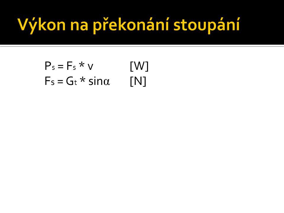 P s = F s * v[W] F s = G t * sin α [N]