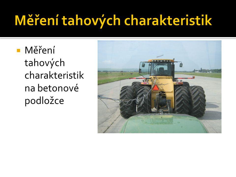  Na obrázku je ukázána tahová charakteristika traktoru s různým přitížením naměřená na válcovém dynamometru.
