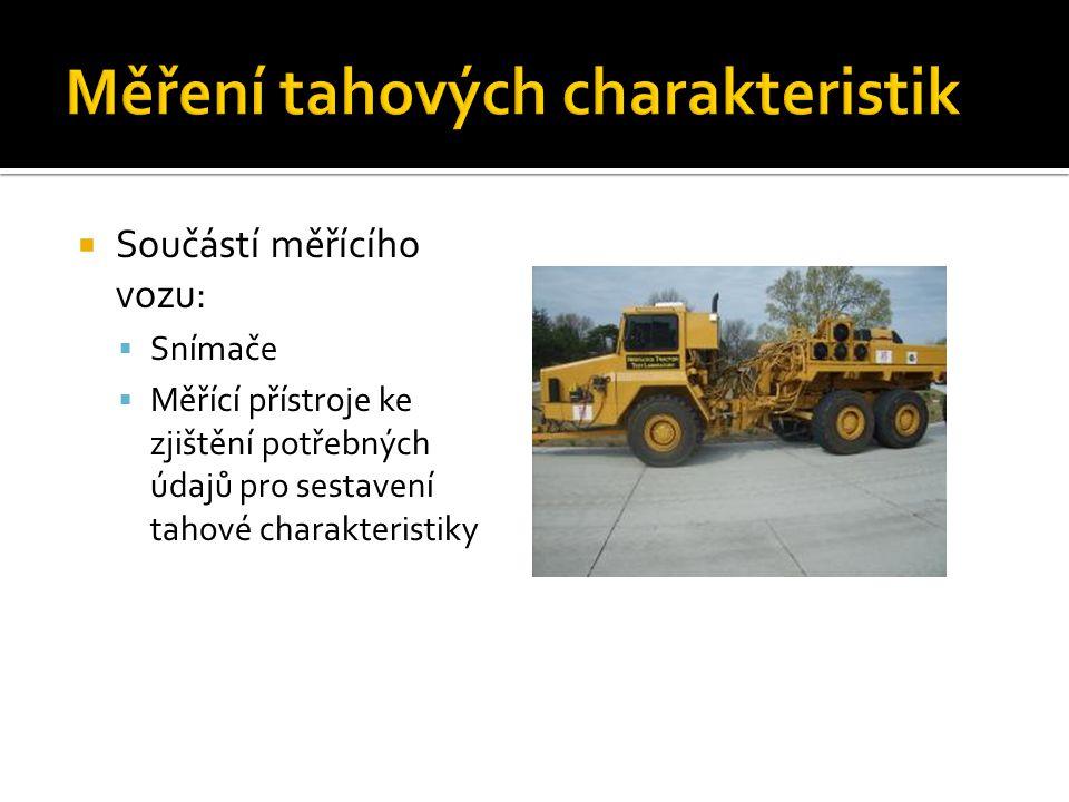  Součástí měřícího vozu:  Snímače  Měřící přístroje ke zjištění potřebných údajů pro sestavení tahové charakteristiky