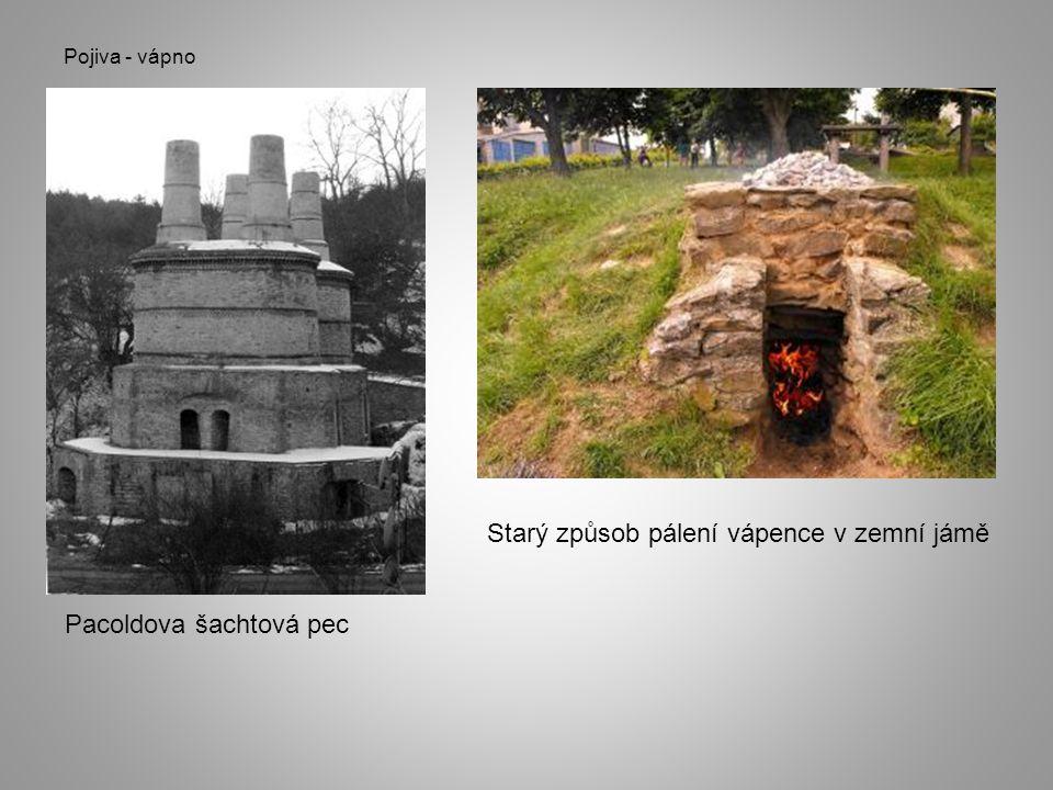 Pojiva - vápno Pacoldova šachtová pec Starý způsob pálení vápence v zemní jámě