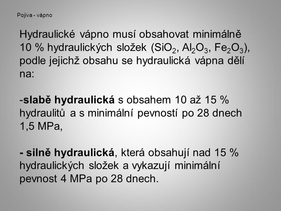 Pojiva - vápno Hydraulické vápno musí obsahovat minimálně 10 % hydraulických složek (SiO 2, Al 2 O 3, Fe 2 O 3 ), podle jejichž obsahu se hydraulická
