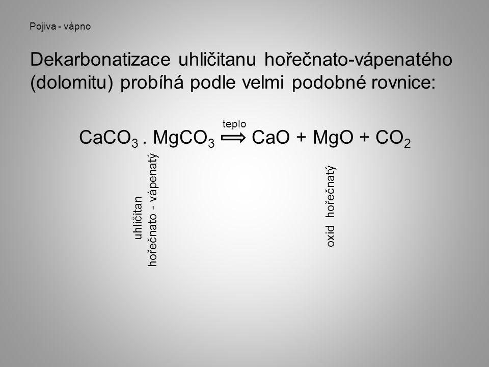 Pojiva - vápno Dekarbonatizace uhličitanu hořečnato-vápenatého (dolomitu) probíhá podle velmi podobné rovnice: CaCO 3. MgCO 3 CaO + MgO + CO 2 teplo u