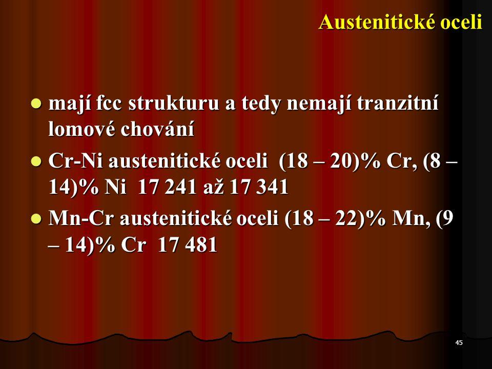45  mají fcc strukturu a tedy nemají tranzitní lomové chování  Cr-Ni austenitické oceli (18 – 20)% Cr, (8 – 14)% Ni 17 241 až 17 341  Mn-Cr austeni