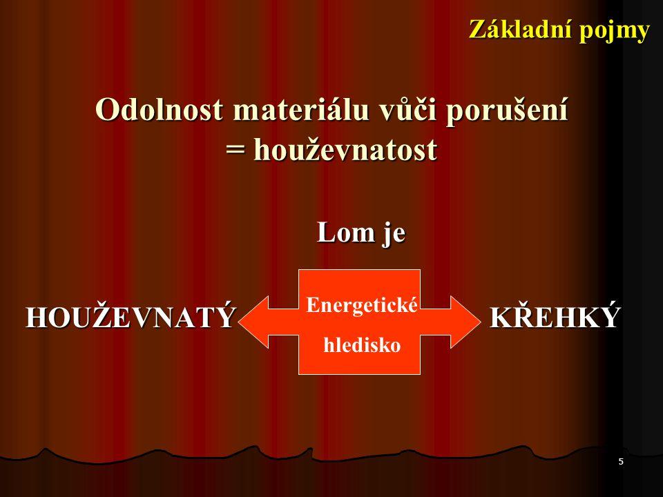 5 Odolnost materiálu vůči porušení = houževnatost Lom je Lom je HOUŽEVNATÝ KŘEHKÝ Energetické hledisko Základní pojmy