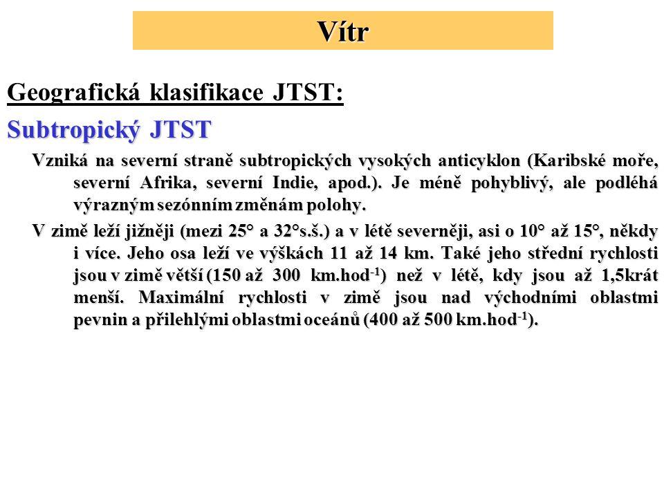 Geografická klasifikace JTST: Subtropický JTST Vzniká na severní straně subtropických vysokých anticyklon (Karibské moře, severní Afrika, severní Indie, apod.).