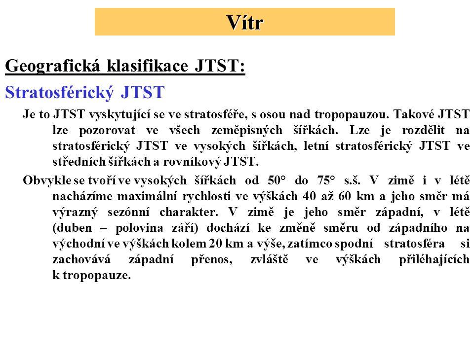 Geografická klasifikace JTST: Stratosférický JTST Je to JTST vyskytující se ve stratosféře, s osou nad tropopauzou.