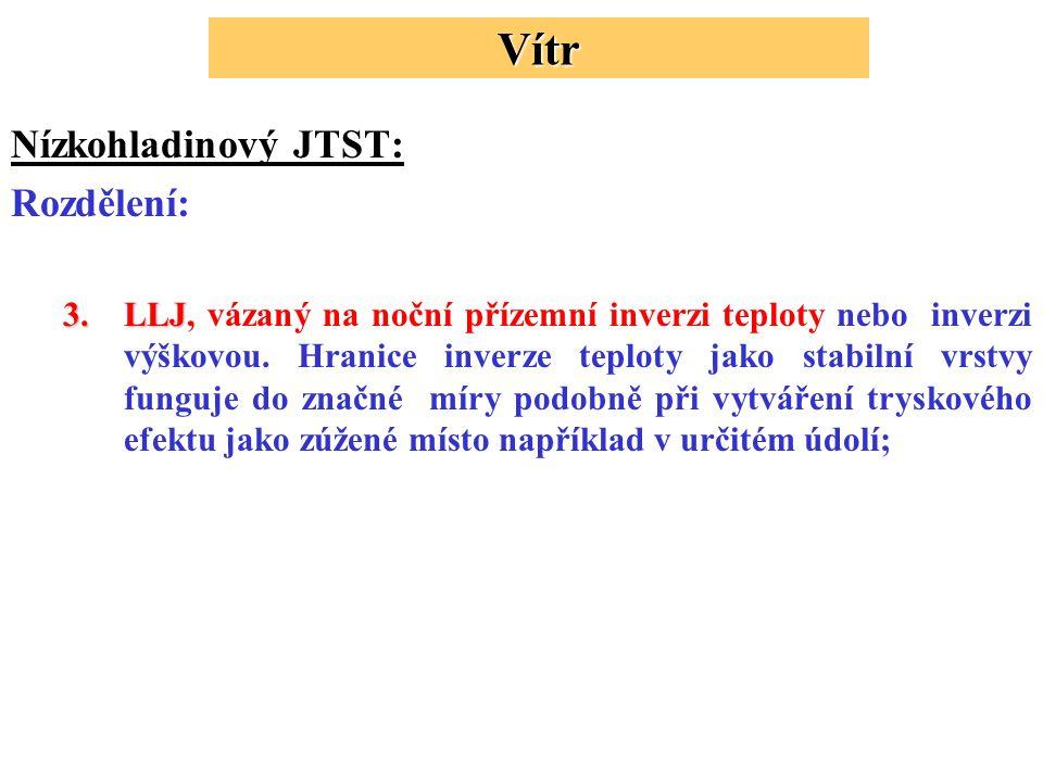 Nízkohladinový JTST: Rozdělení: 3.LLJ 3.LLJ, vázaný na noční přízemní inverzi teploty nebo inverzi výškovou.