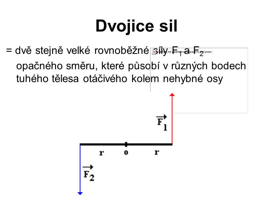 Dvojice sil = dvě stejně velké rovnoběžné síly F 1 a F 2 opačného směru, které působí v různých bodech tuhého tělesa otáčivého kolem nehybné osy