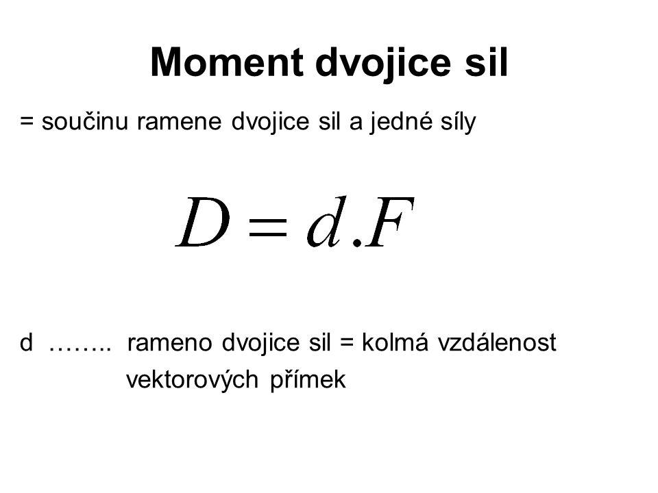Moment dvojice sil = součinu ramene dvojice sil a jedné síly d …….. rameno dvojice sil = kolmá vzdálenost vektorových přímek