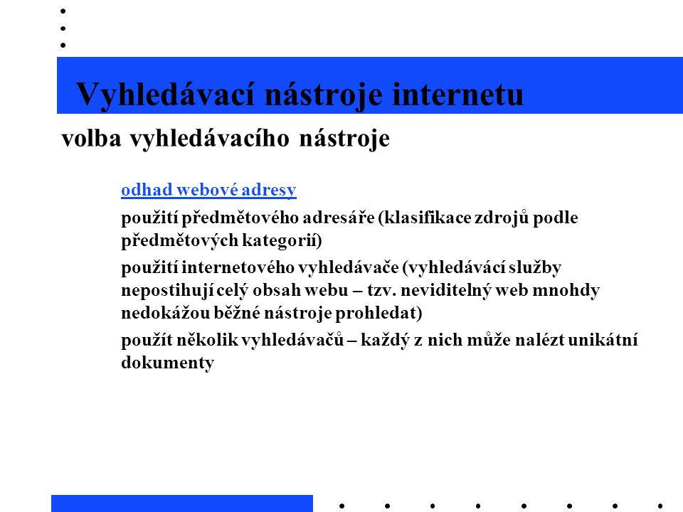 Vyhledávací nástroje internetu volba vyhledávacího nástroje –odhad webové adresyodhad webové adresy –použití předmětového adresáře (klasifikace zdrojů
