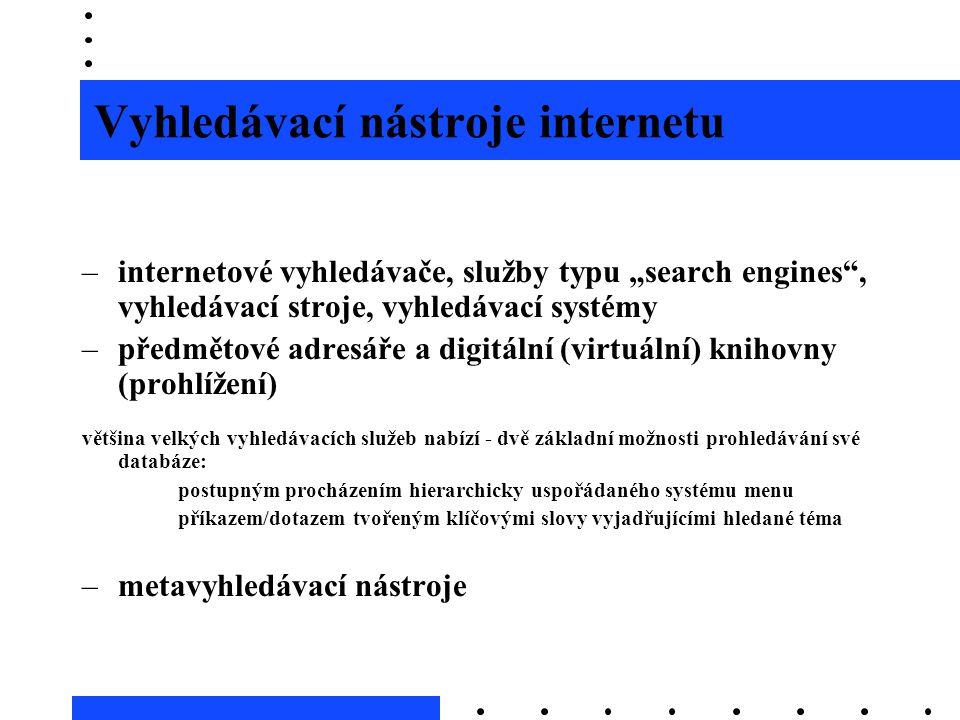 """Vyhledávací nástroje internetu –internetové vyhledávače, služby typu """"search engines"""", vyhledávací stroje, vyhledávací systémy –předmětové adresáře a"""