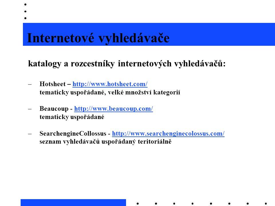 Internetové vyhledávače katalogy a rozcestníky internetových vyhledávačů: –Hotsheet – http://www.hotsheet.com/http://www.hotsheet.com/ tematicky uspoř