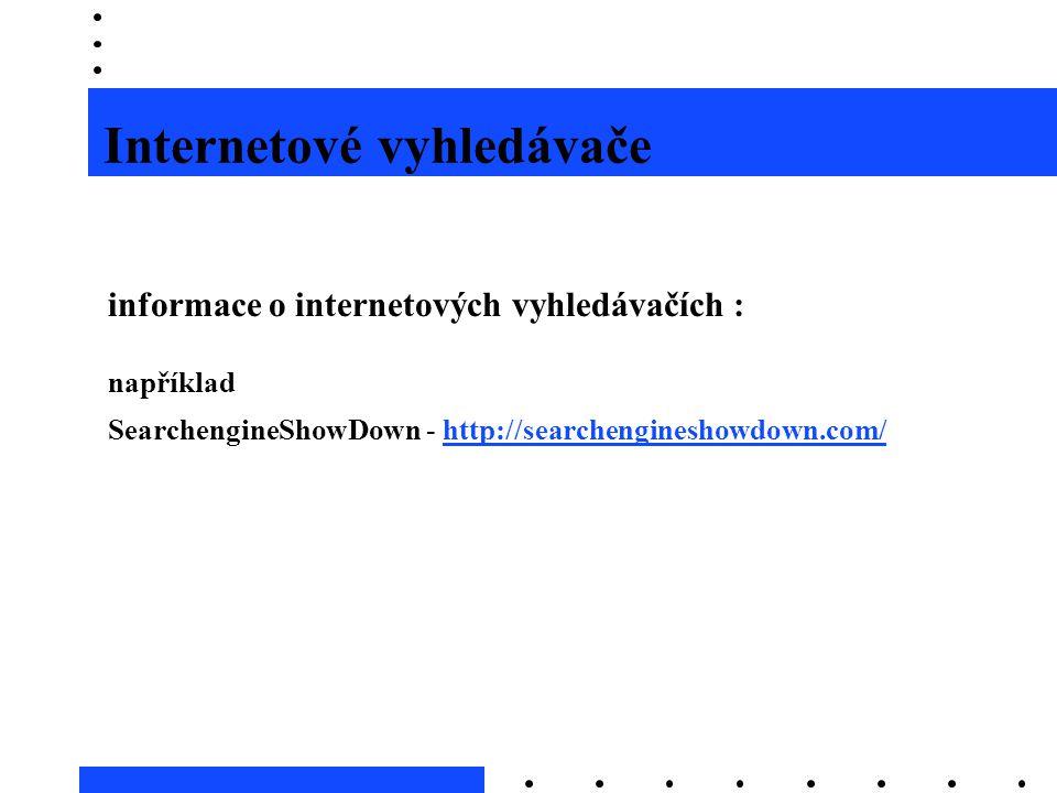 Internetové vyhledávače informace o internetových vyhledávačích : například SearchengineShowDown - http://searchengineshowdown.com/http://searchengine