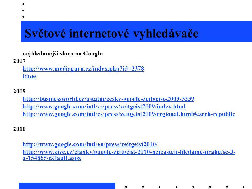 Světové internetové vyhledávače nejhledanější slova na Googlu 2007 http://www.mediaguru.cz/index.php?id=2378 idnes 2009 http://businessworld.cz/ostatn
