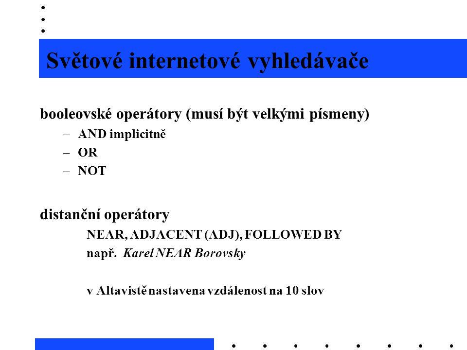 Světové internetové vyhledávače booleovské operátory (musí být velkými písmeny) –AND implicitně –OR –NOT distanční operátory NEAR, ADJACENT (ADJ), FOL