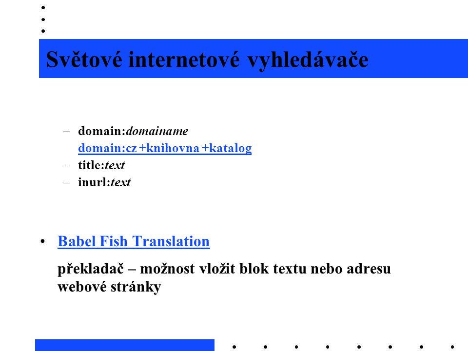 Světové internetové vyhledávače prohledávání podle polí –domain:domainame domain:cz +knihovna +katalog –title:text –inurl:text •Babel Fish Translation