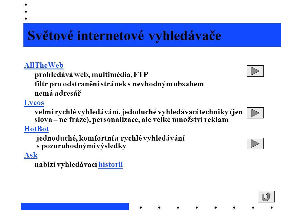 Světové internetové vyhledávače AllTheWeb prohledává web, multimédia, FTP filtr pro odstranění stránek s nevhodným obsahem nemá adresář Lycos velmi ry