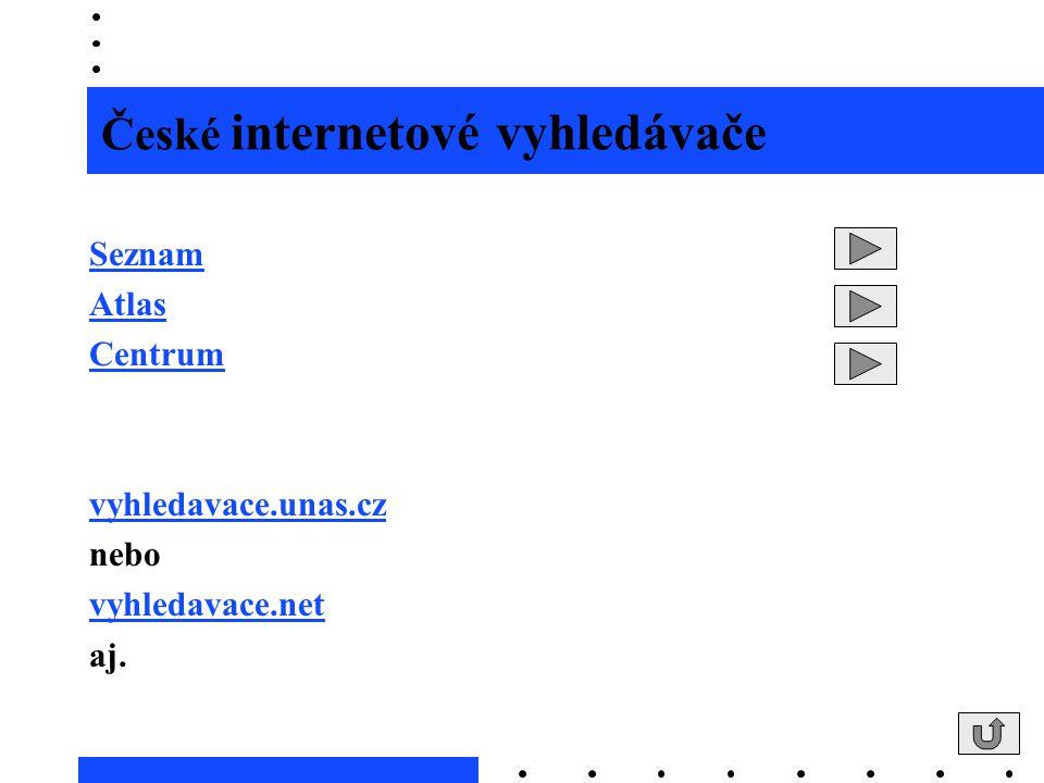 České internetové vyhledávače Seznam Atlas Centrum vyhledavace.unas.cz nebo vyhledavace.net aj.