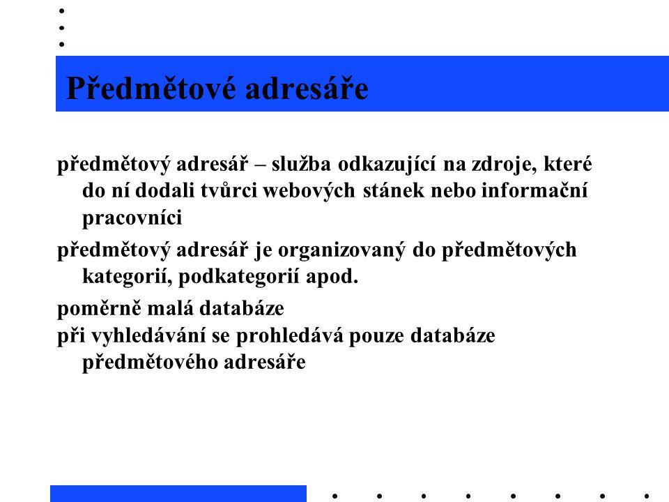Předmětové adresáře předmětový adresář – služba odkazující na zdroje, které do ní dodali tvůrci webových stánek nebo informační pracovníci předmětový