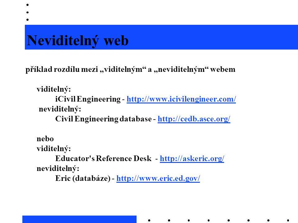 """Neviditelný web příklad rozdílu mezi """"viditelným"""" a """"neviditelným"""" webem viditelný: iCivil Engineering - http://www.icivilengineer.com/http://www.iciv"""