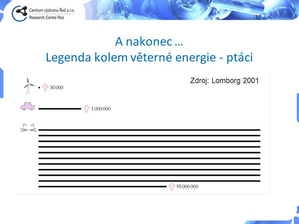 A nakonec … Legenda kolem věterné energie - ptáci Zdroj: Lomborg 2001