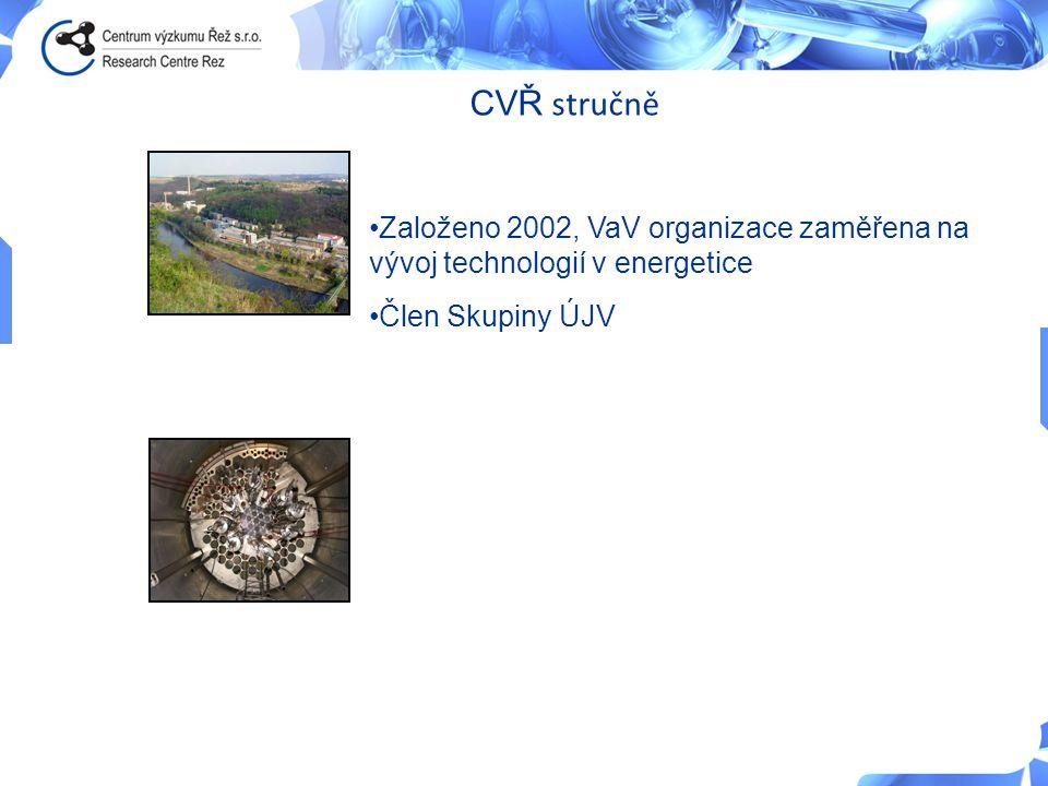 CVŘ stručně •Založeno 2002, VaV organizace zaměřena na vývoj technologií v energetice •Člen Skupiny ÚJV Vizí společnosti Centrum výzkumu Řež s.r.o. je