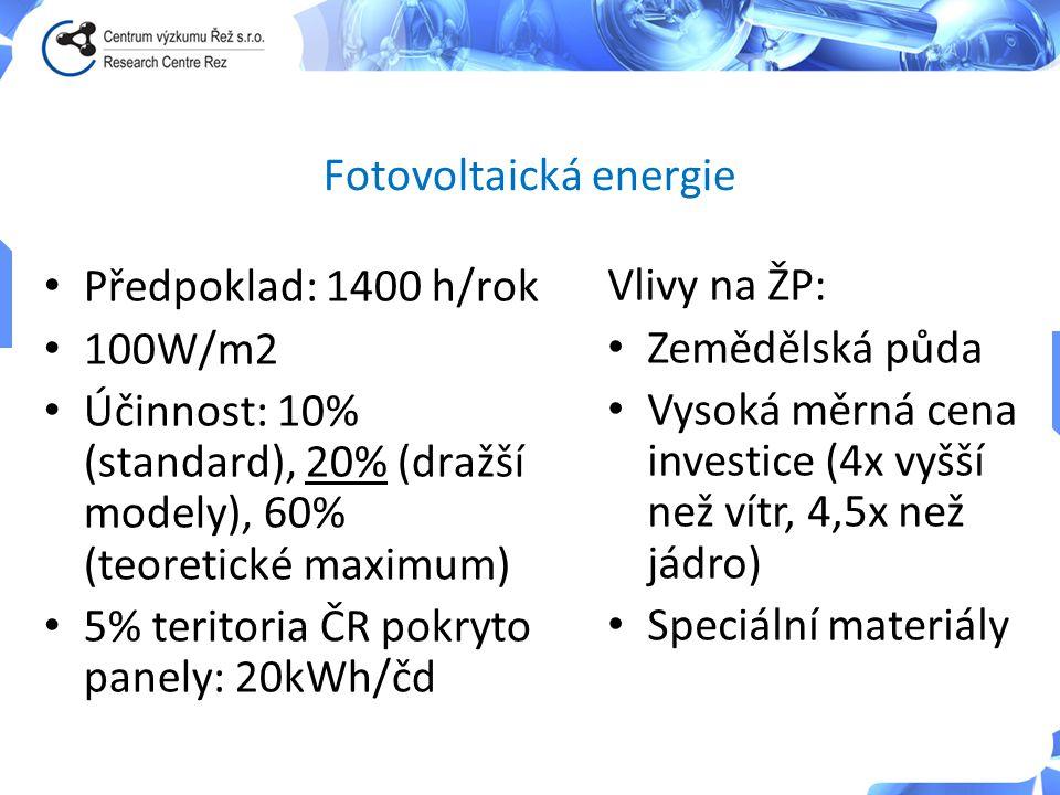 • Předpoklad: 1400 h/rok • 100W/m2 • Účinnost: 10% (standard), 20% (dražší modely), 60% (teoretické maximum) • 5% teritoria ČR pokryto panely: 20kWh/č