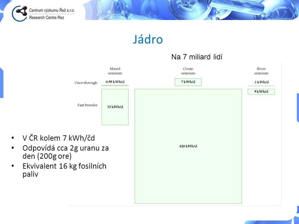 Jádro • V ČR kolem 7 kWh/čd • Odpovídá cca 2g uranu za den (200g ore) • Ekvivalent 16 kg fosilních paliv Na 7 miliard lidí