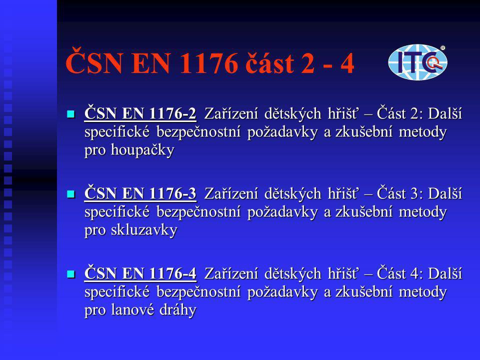 ČSN EN 1176 část 2 - 4  ČSN EN 1176-2 Zařízení dětských hřišť – Část 2: Další specifické bezpečnostní požadavky a zkušební metody pro houpačky  ČSN