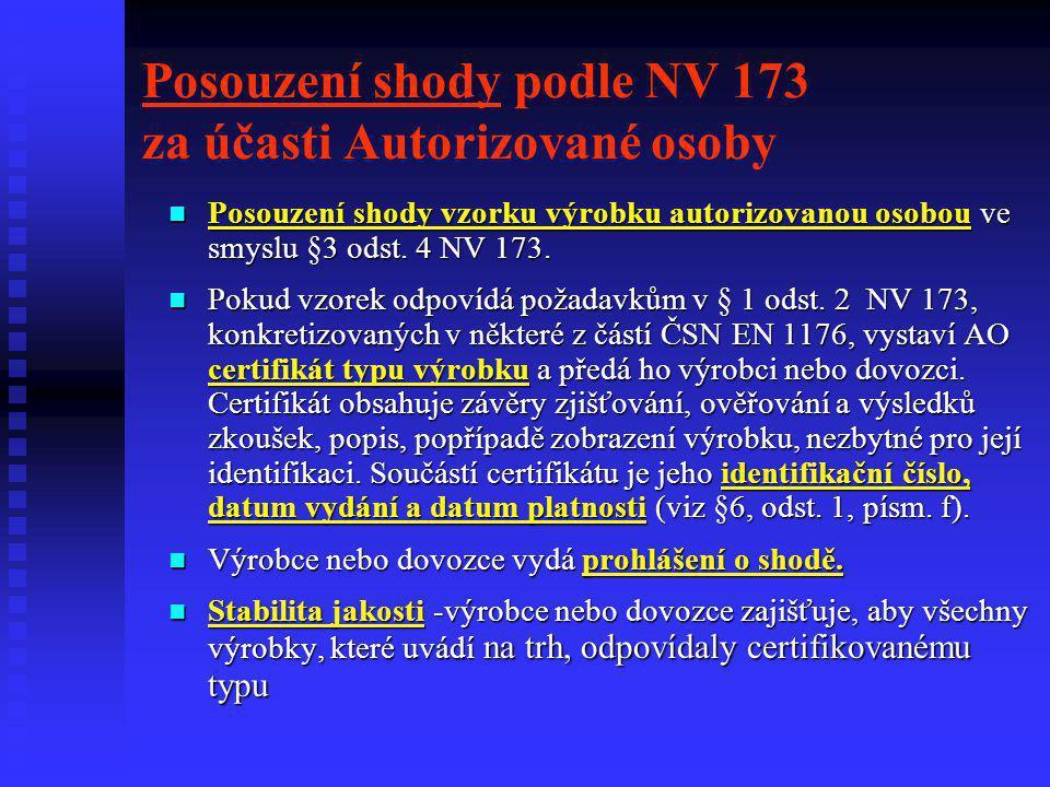 Posouzení shody podle NV 173 za účasti Autorizované osoby  Posouzení shody vzorku výrobku autorizovanou osobou ve smyslu §3 odst. 4 NV 173.  Pokud v
