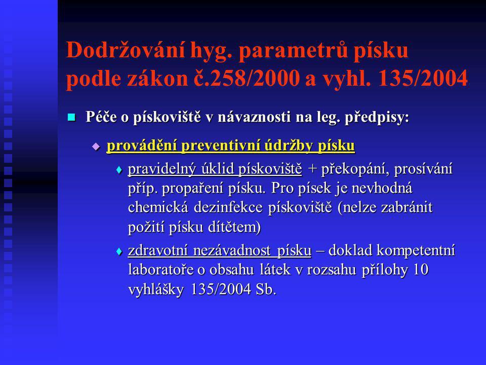 Dodržování hyg. parametrů písku podle zákon č.258/2000 a vyhl. 135/2004  Péče o pískoviště v návaznosti na leg. předpisy:  provádění preventivní údr