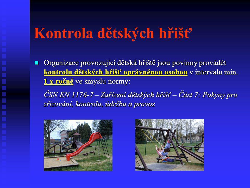 Kontrola dětských hřišť  Organizace provozující dětská hřiště jsou povinny provádět kontrolu dětských hřišť oprávněnou osobou v intervalu min. 1 x ro