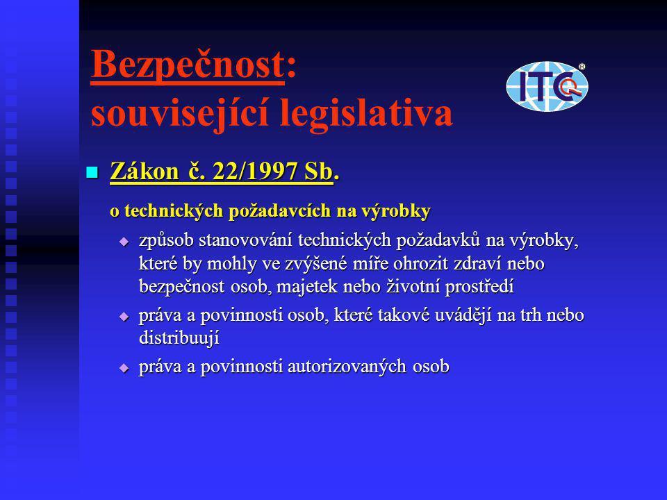 Bezpečnost: související legislativa  Zákon č. 22/1997 Sb. o technických požadavcích na výrobky  způsob stanovování technických požadavků na výrobky,