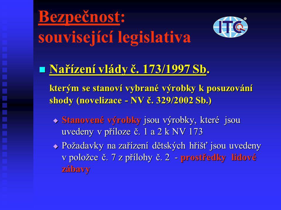 Bezpečnost: související legislativa  Nařízení vlády č. 173/1997 Sb. kterým se stanoví vybrané výrobky k posuzování shody (novelizace - NV č. 329/2002