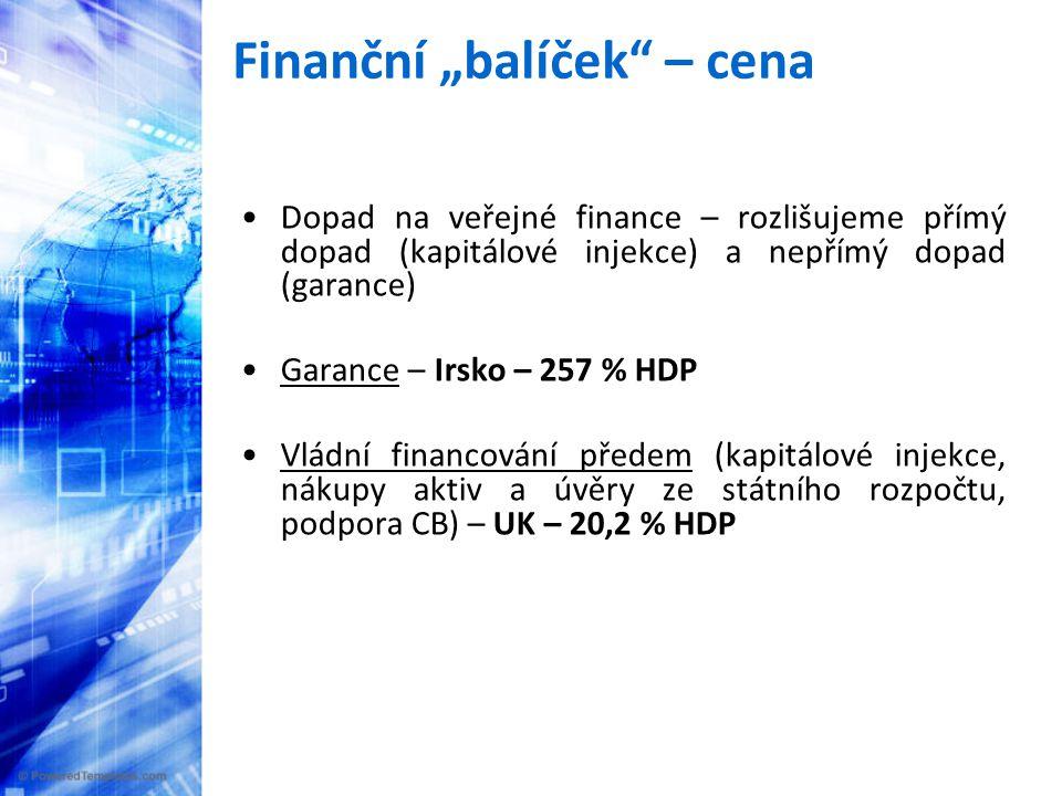 """Finanční """"balíček – cena •Dopad na veřejné finance – rozlišujeme přímý dopad (kapitálové injekce) a nepřímý dopad (garance) •Garance – Irsko – 257 % HDP •Vládní financování předem (kapitálové injekce, nákupy aktiv a úvěry ze státního rozpočtu, podpora CB) – UK – 20,2 % HDP"""