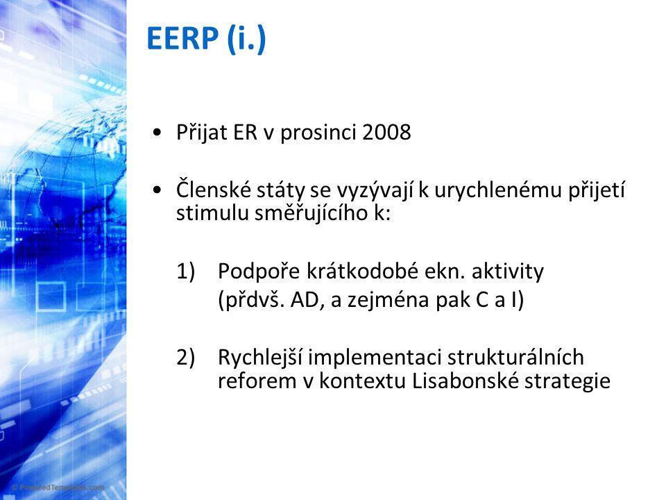 EERP (i.) •Přijat ER v prosinci 2008 •Členské státy se vyzývají k urychlenému přijetí stimulu směřujícího k: 1)Podpoře krátkodobé ekn.