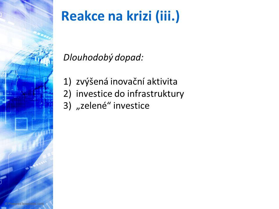 """Reakce na krizi (iii.) Dlouhodobý dopad: 1) zvýšená inovační aktivita 2) investice do infrastruktury 3) """"zelené investice"""