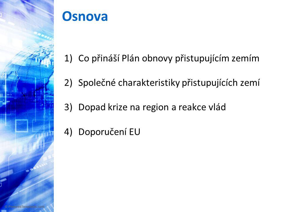 Osnova 1)Co přináší Plán obnovy přistupujícím zemím 2) Společné charakteristiky přistupujících zemí 3) Dopad krize na region a reakce vlád 4) Doporučení EU