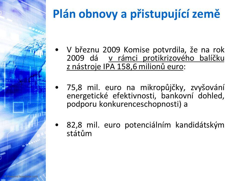 Plán obnovy a přistupující země •V březnu 2009 Komise potvrdila, že na rok 2009 dá v rámci protikrizového balíčku z nástroje IPA 158,6 milionů euro: •75,8 mil.