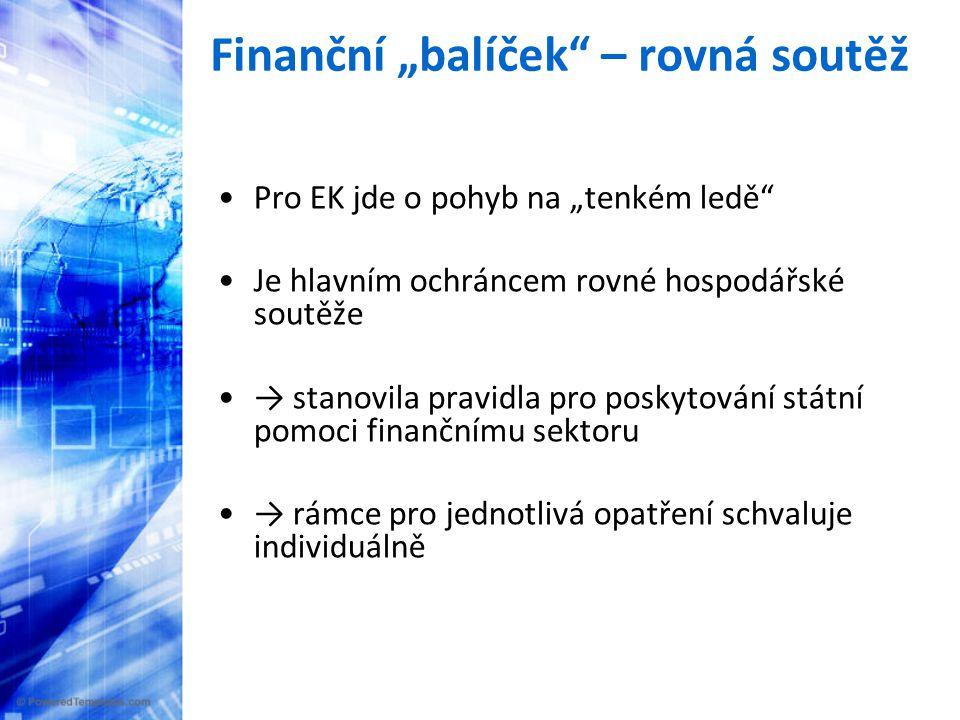 """Finanční """"balíček – krytí vkladů •První a rychlá reakce byla spíše spontánní než nějak koordinovaná → všechny ČS upravily systém pojištění vkladů •15.10.: EK přijímá návrh směrnice, do 30.6."""