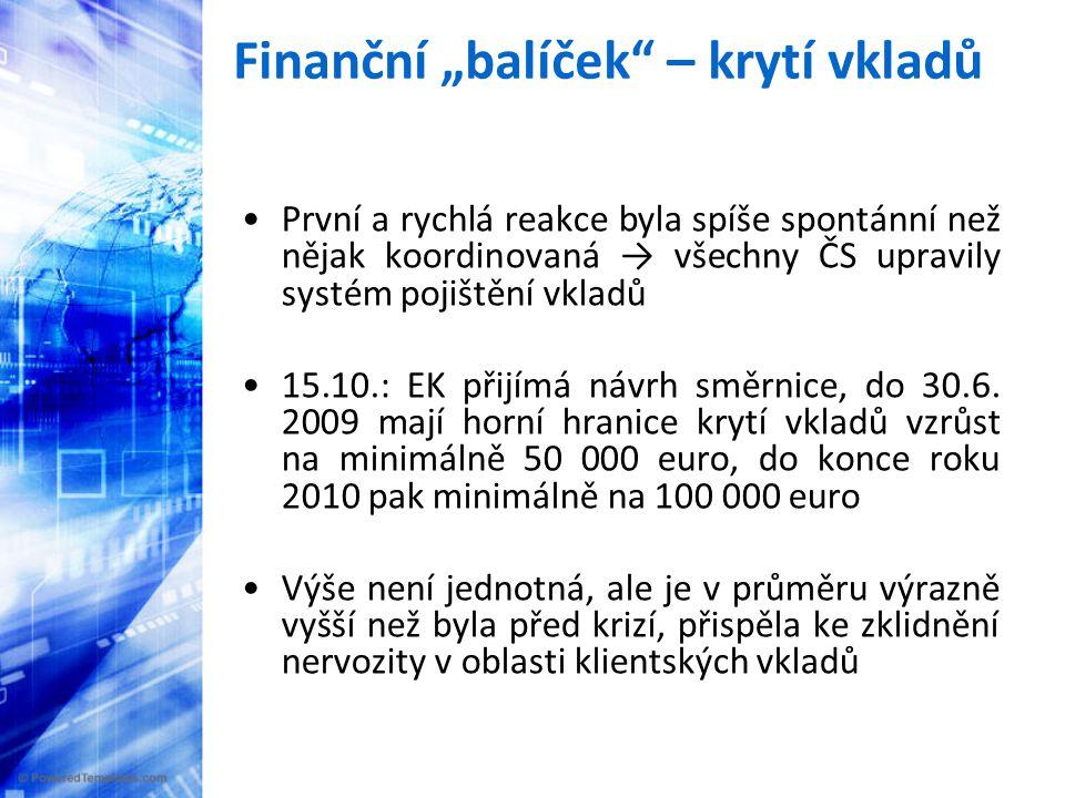 Krize (ii.) Nejvíce postiženy jsou: 1) státy s rozsáhlým finančním sektorem (Irsko, VB, Španělsko) 2) malé otevřené ekonomiky s velkým podílem zpracovatelského průmyslu (ČR, Maďarsko, Bulharsko) 3) velké (relativně) otevřené ekonomiky (Německo, VB) 4) státy s prvotními makroekonomickými nerovnováhami (Lotyšsko, Litva, Estonsko, Maďarsko, Rumunsko)