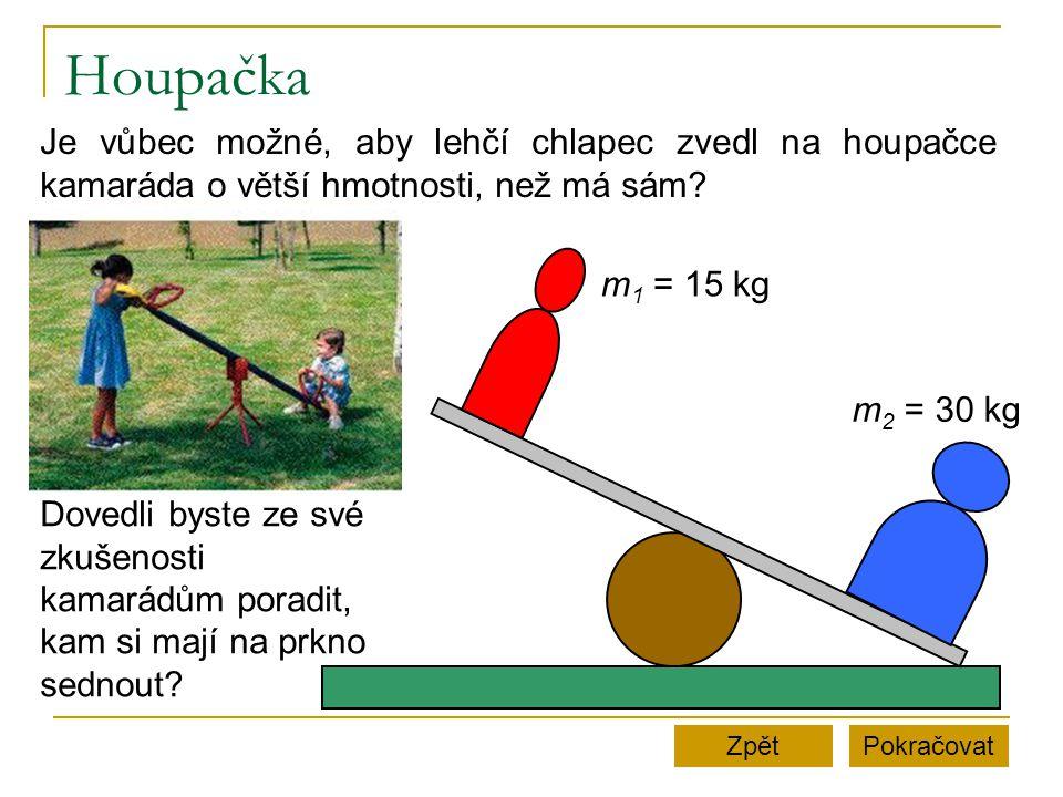 Houpačka PokračovatZpět m 1 = 15 kg m 2 = 30 kg Je vůbec možné, aby lehčí chlapec zvedl na houpačce kamaráda o větší hmotnosti, než má sám? Dovedli by